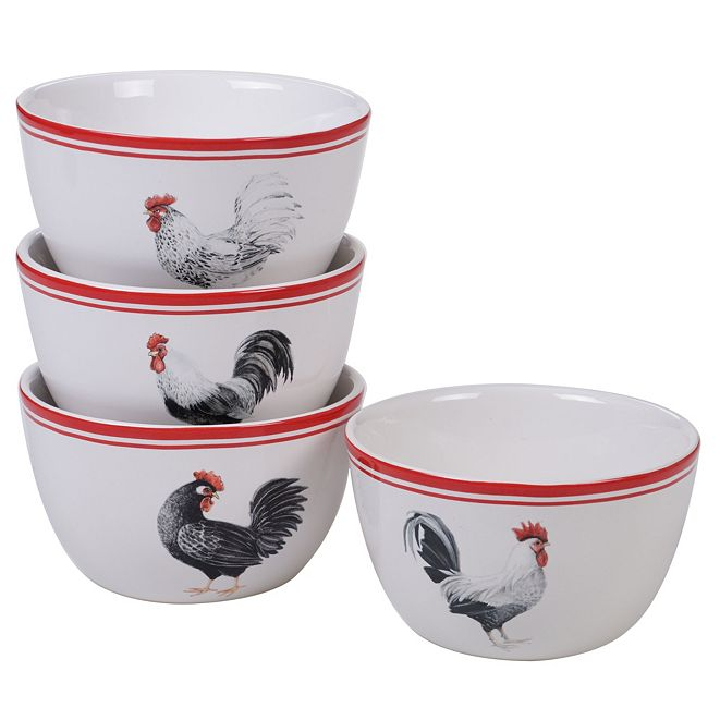 Certified International Homestead Rooster 4-Pc. Ice Cream Bowl