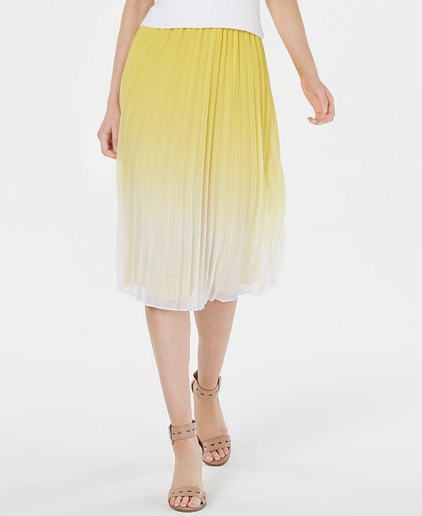 Bar III Pleated Ombré Midi Skirt, Created for Macy's