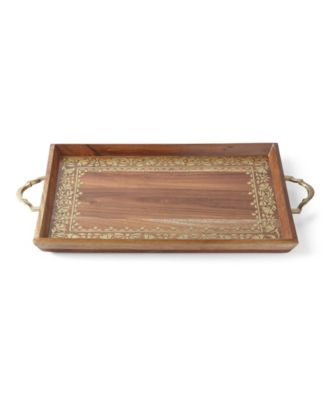 Global Tapestry Wood Handled Rectangular Tray