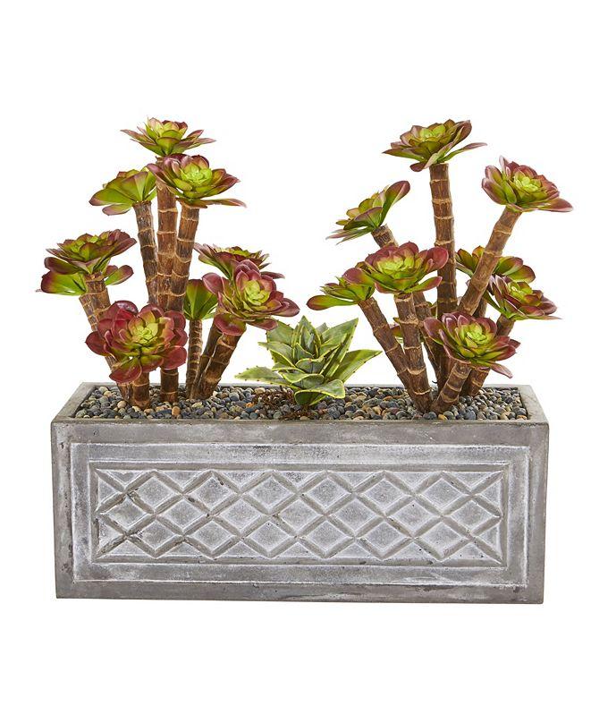 """Nearly Natural 23"""" Echeverria Succulent Artificial Plant in Stone Planter"""