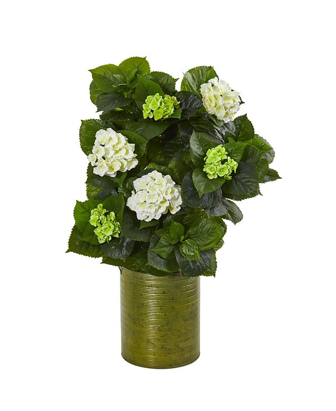 """Nearly Natural 32"""" Hydrangea Artificial Plant in Metal Green Planter"""
