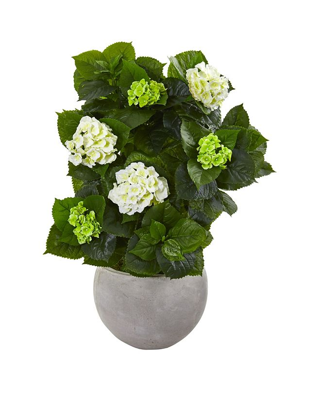"Nearly Natural 30"" Hydrangea Artificial Plant in Sand Stone Bowl"