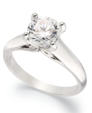 X3 Certified Diamond Solitaire Engagement Ring in 18k White Gold (3/4 ct. t.w.)