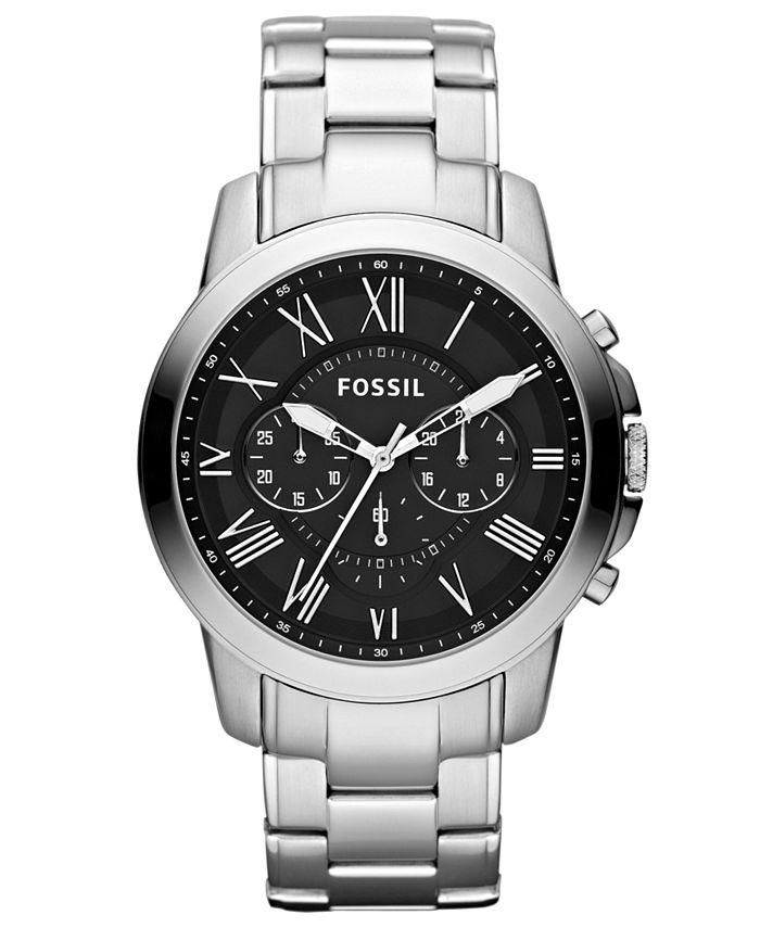Fossil - Men's Chronograph Grant Stainless Steel Bracelet Watch 44mm FS4736