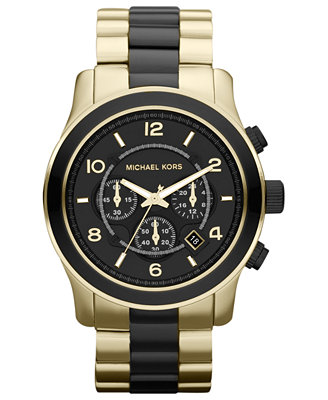 michael kors s chronograph runway black and gold tone