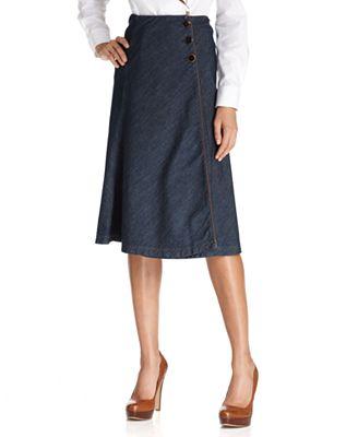 jones new york signature skirt denim midi skirts