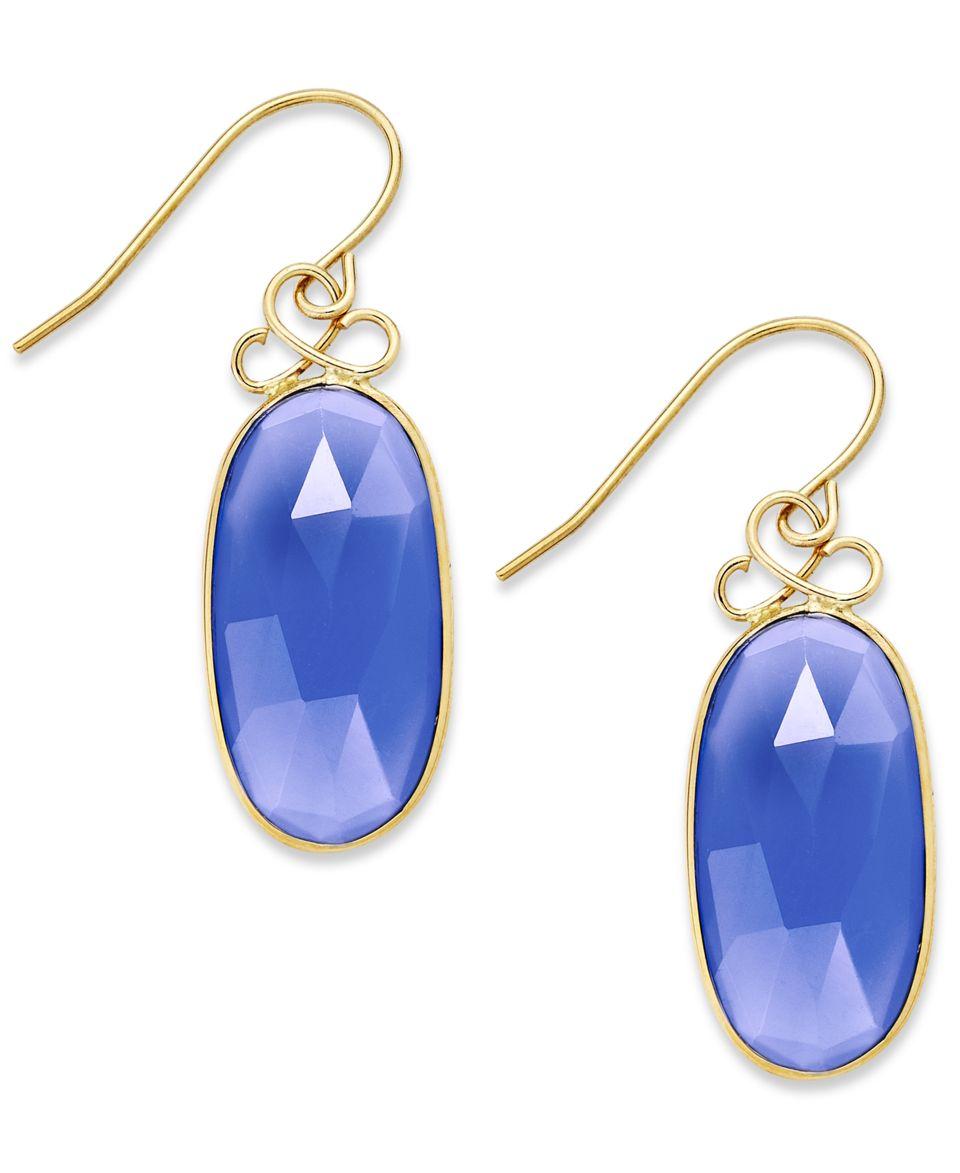 14k Gold over Sterling Silver Earrings, Purple Chalcedony Drop Earrings (21 124mm)   Earrings   Jewelry & Watches