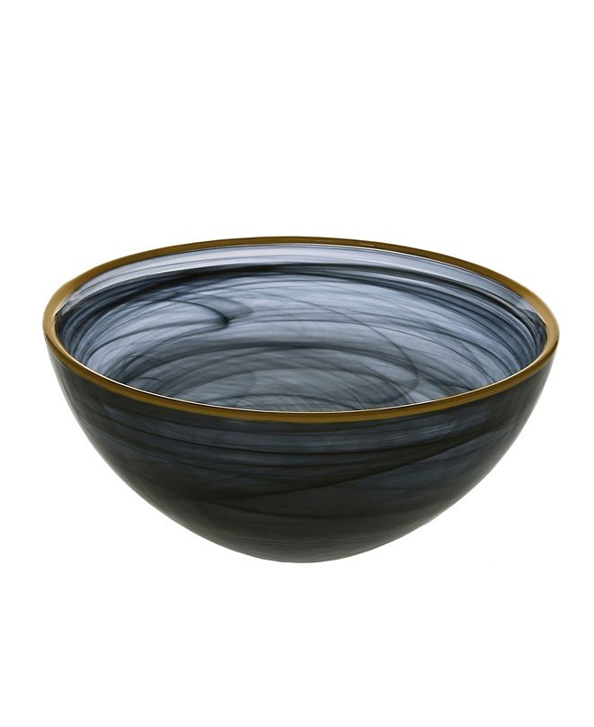 """Classic Touch Black Alabaster 6.25"""" Bowl with Gold Rim"""