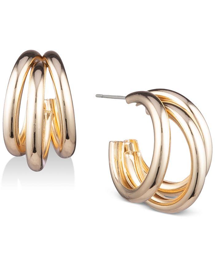 Anne Klein - Gold-Tone Multi-Row Hoop Earrings