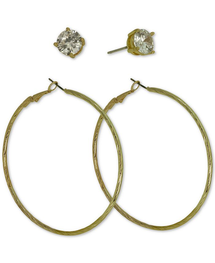GUESS - Gold-Tone 2-Pc. Set Cubic Zirconia Stud & Hoop Earrings