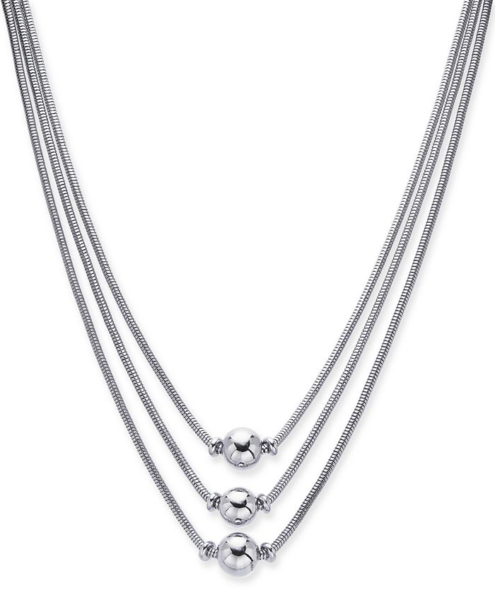 """Alfani - Silver-Tone Sphere Three-Row Necklace, 17"""" + 2"""" extender, Created for Macy's"""