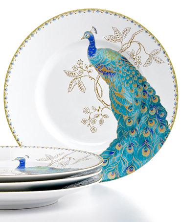 222 fifth set of 4 peacock garden salad plates dinnerware dining entertaining macy 39 s