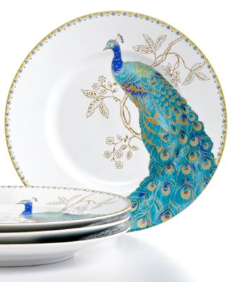 222 Fifth Set of 4 Peacock Garden Salad Plates