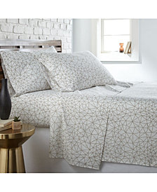 Southshore Fine Linens Geometric Maze 4 Piece Printed Sheet Set, Full