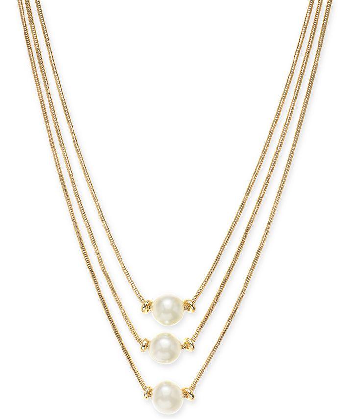 Alfani - Gold-Tone Imitation Pearl Three-Row Necklace