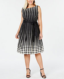 Anne Klein Plus Size Cotton Printed Fit & Flare Dress