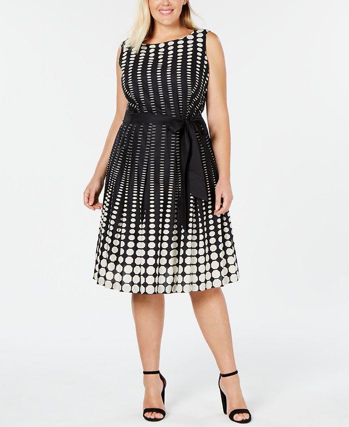 Anne Klein - Plus Size Cotton Printed A-Line Dress