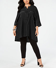Anne Klein Plus Size Mixed-Media Tunic