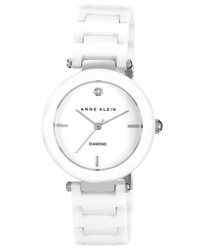 Anne Klein - Watch, Women's Diamond Accent White Ceramic Bracelet 33mm AK-1019WTWT