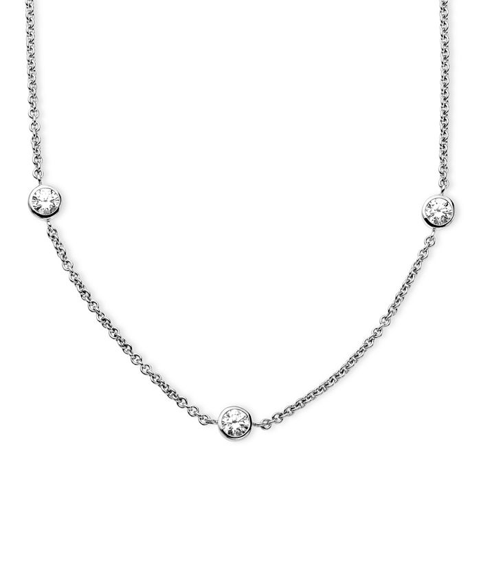 Arabella - Sterling Silver Necklace, White Round-Cut Swarovski Zirconia 7-Station Necklace (3-1/6 ct. t.w.)