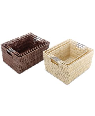 Whitmor Storage Baskets, Set of 3 Rattique