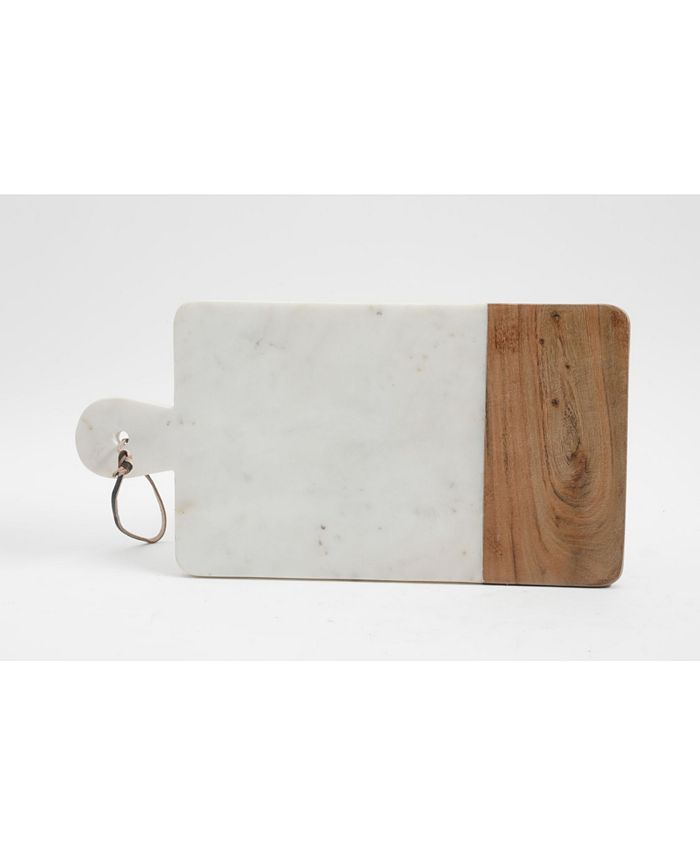 Laurie Gates - White Marbld & Wood Serving  Board