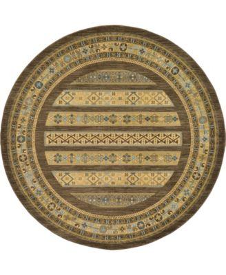 Ojas Oja4 Brown 8' x 8' Round Area Rug