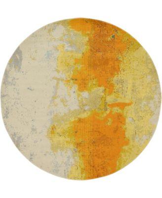 Newwolf New4 Yellow 8' x 8' Round Area Rug