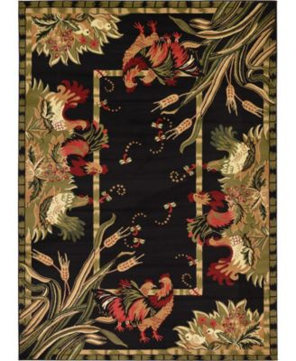 Roost Roo1 Black 7' x 10' Area Rug