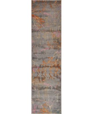 "Aroa Aro1 Gray 2' 7"" x 10' Runner Area Rug"