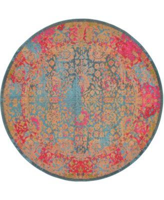 Sana San8 Blue 8' x 8' Round Area Rug