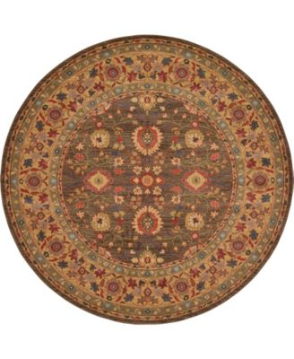Orwyn Orw1 Light Brown 8' x 8' Round Area Rug