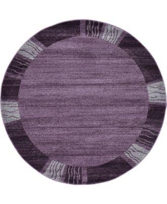 Lyon Lyo1 Purple 6' x 6' Round Area Rug