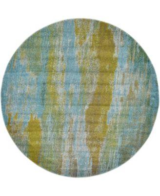 Adah Ada2 Turquoise 6' x 6' Round Area Rug