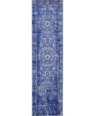 "Wisdom Wis3 Royal Blue 2' 7"" x 10' Runner Area Rug"