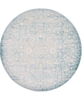 Norston Nor1 Blue 8' x 8' Round Area Rug