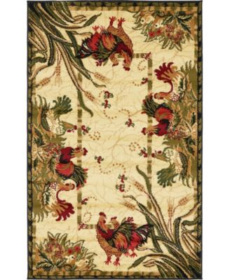 "Roost Roo1 Ivory 3' 3"" x 5' 3"" Area Rug"