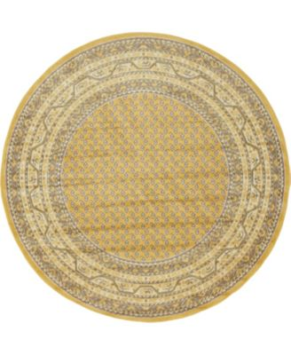 Axbridge Axb1 Yellow 5' x 5' Round Area Rug