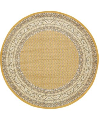 Axbridge Axb1 Yellow 8' x 8' Round Area Rug