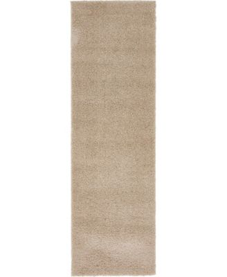 "Salon Solid Shag Sss1 Taupe 2' x 6' 7"" Runner Area Rug"