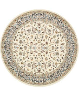 Zara Zar1 Ivory 10' x 10' Round Area Rug
