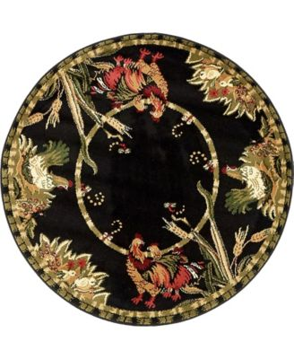 Roost Roo1 Black 4' x 4' Round Area Rug