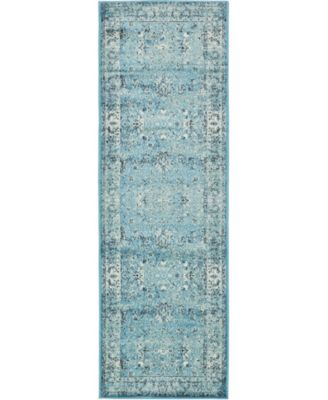 """Linport Lin1 Turquoise/Ivory 3' x 9' 10"""" Runner Area Rug"""