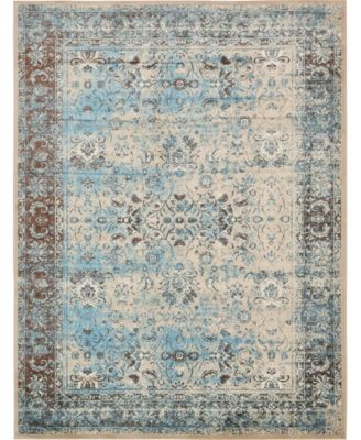 Linport Lin1 Ivory/Turquoise 10' x 13' Area Rug