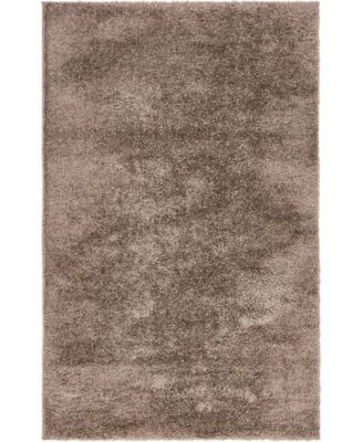 Salon Solid Shag Sss1 Brown 5' x 8' Area Rug
