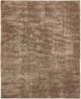 Salon Solid Shag Sss1 Brown 8' x 10' Area Rug