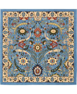 Aelmoor Ael1 Blue 8' x 8' Square Area Rug