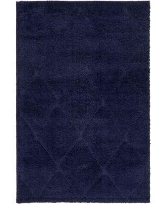 Filigree Shag Fil1 Navy Blue 4' x 6' Area Rug