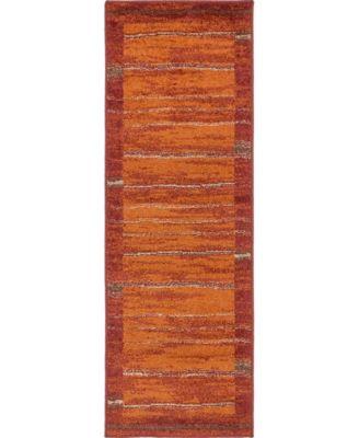 Jasia Jas11 Terracotta 2' x 6' Runner Area Rug