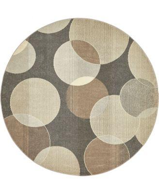 Crisanta Crs6 Gray 8' x 8' Round Area Rug